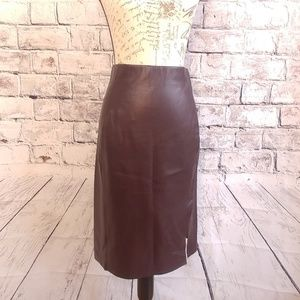 Loft faux leather skirt chocolate brown